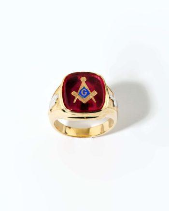 Red Stone Masonic Ring 14K Yellow Gold