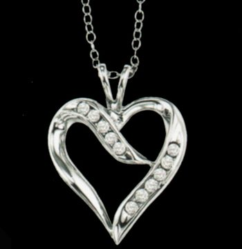 Silver Diamond Heart Pendant-0