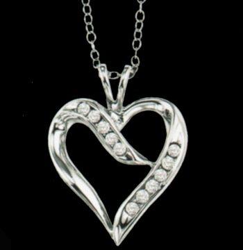Silver Diamond Heart Pendant-0