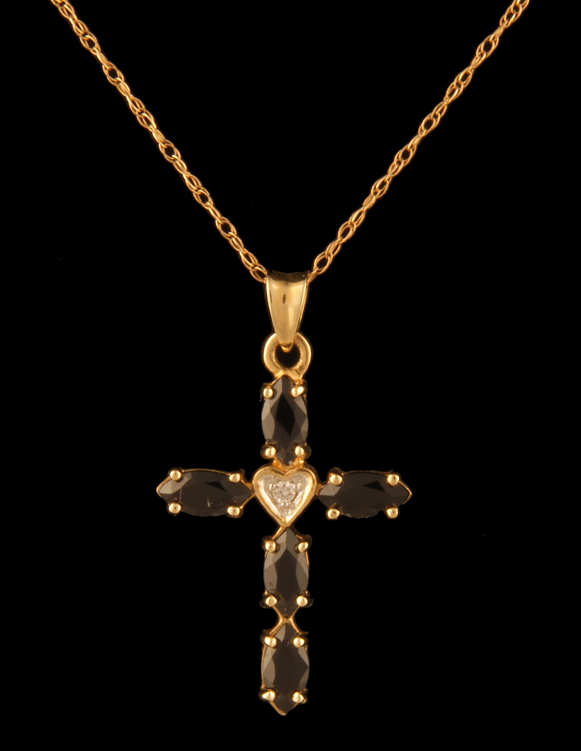 Onyx cross pendant 02 tdw 14k yellow gold brownes jewelers onyx cross pendant 02 tdw 14k yellow gold 0 aloadofball Images