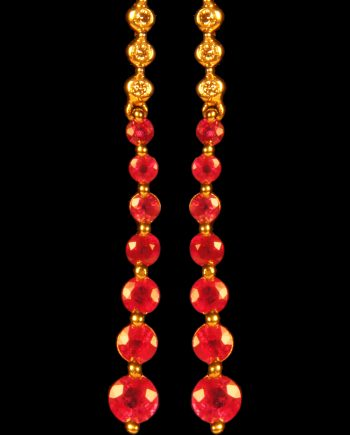 Ruby and Diamond Dangle Earrings-0