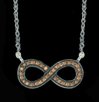 "Silver Cocoa Diamond ""Infinity"" Pendant 0.25 ctw-0"