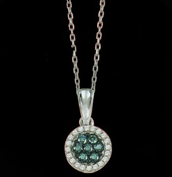 White Gold Blue and White Diamond Pendant 0.20 ctw-0