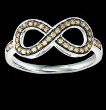 "Silver Cocoa Diamond ""Infinity"" Ring .025 ctw-0"