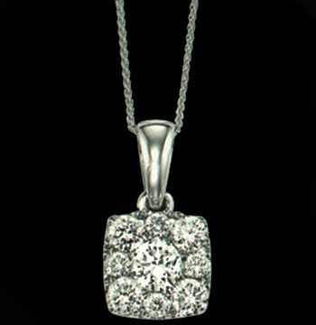Cushion Shaped Sensations Pendant 14K White Gold 0.25 ctw-0