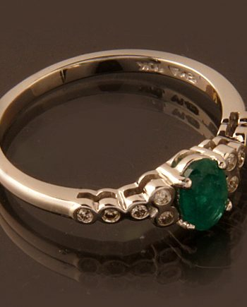 Emerald Ring 0.45ctw 10K White Gold with .07 ctw Diamonds-0