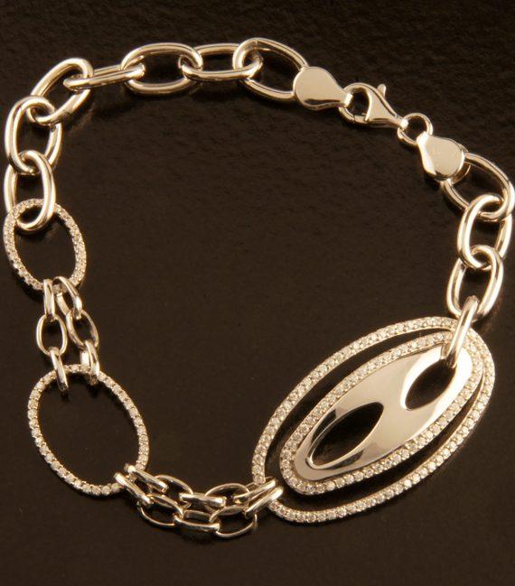 Sterling Silver Double Oval Micro-Pave Bracelet-0