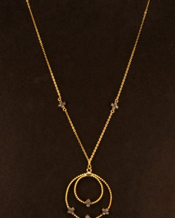 Sterling Silver Gold Tone Cubic Zirconium Pendant-0