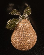 Sterling Silver Pink Pear Pin-0