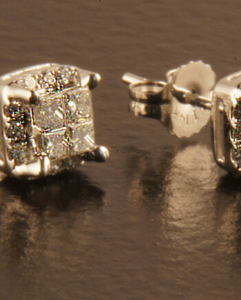 Diamond Studs Princess Composite Set 0.50 ctw 14K White Gold-0