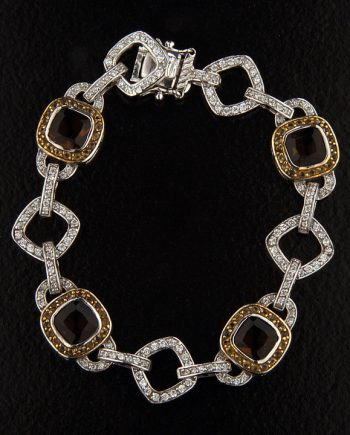 Sterling Silver Smokey Topaz and Cubic Zirconium Bracelet -0