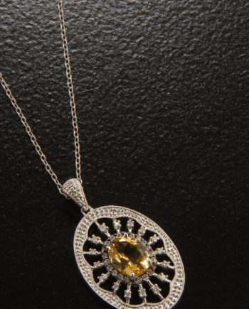 Citrine and Diamond Pendant 0.32TDW in Sterling Silver-0