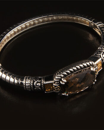 Sterling Silver Smokey Quartz (11.6C) and Citrine (1.16C) Bracelet with Antique Magnetic Clasp-0