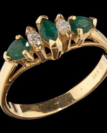 Diamond and Emerald Ring 14K Yellow Gold-0