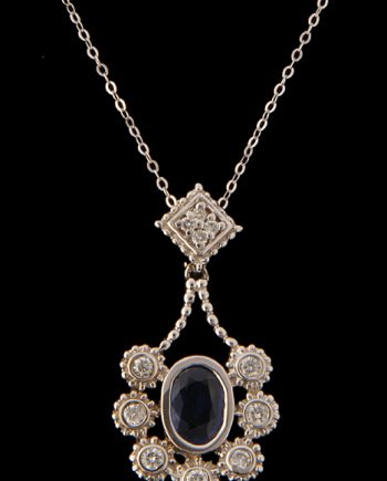 Diamond and Sapphire Pendant 14K White Gold-0