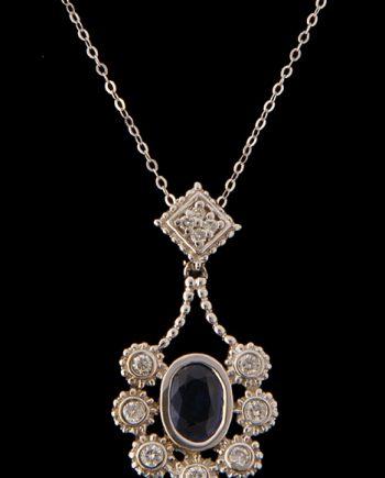 Diamond and Sapphire Pendant 14K White Gold-0