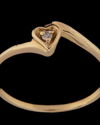 Diamond Heart Ring 14K Yellow Gold 0.02 TDW-0