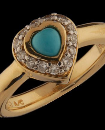 Turquios and Diamond Ring 14K Yellow Gold-0
