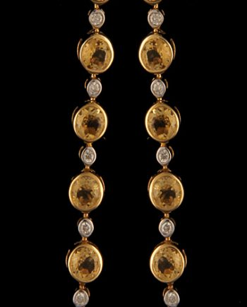 Dangle Post Earrings Citrine and Diamond Bezel 14K Yellow Gold-0