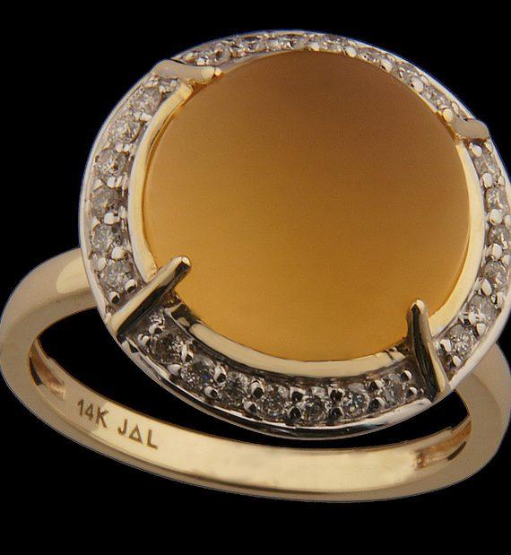 Brushed Finish Citrine Stone with Diamonds Set in 14K-0