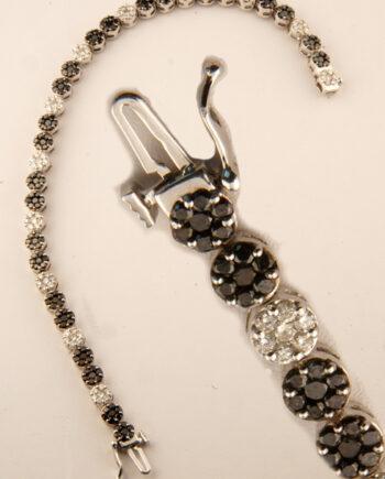 Black and White Diamond Bracelet 4.25 ctw 14k White Gold-0