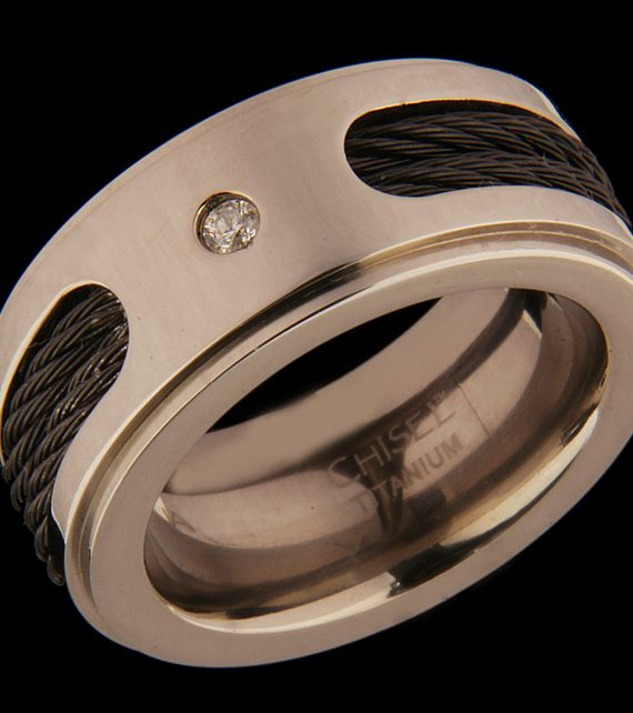Gents Diamond Wedding Band 10mm Titanium with Black IP Plated Cables-0