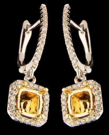 Diamond Semi-Mount Earrings 0.29 ctw Round Diamonds 18K White Gold with 18K Yellow Gold Accent-0