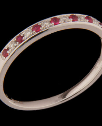 Diamond 0.07ctw and Ruby 0.11 ctw Ring in 18K White Gold-0