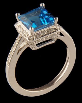Diamond 0.29 ctw and Square Blue Topaz Ring 14K White Gold-0