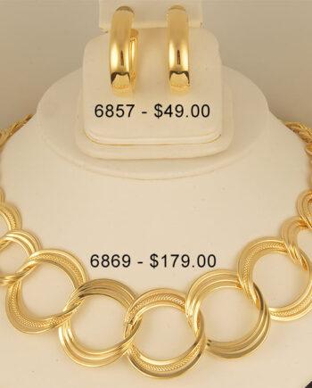 Bronze Large Triple Link Necklace-0