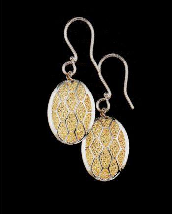 Two Tone Sterling Silver Oval Earrings-0