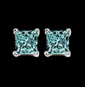 Blue Princess Cut Diamond Earrings 1.0ctw 10K White Gold-0