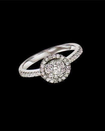 Diamond Cluster Ring 0.50 ctw in 14K White Gold-0