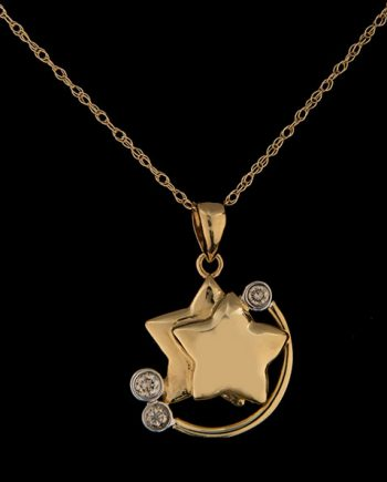 Diamond Star Pendant in 14K Yellow Gold-0