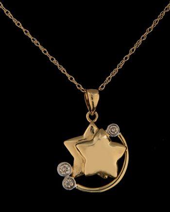 Diamond Star Pendant in 14K Yellow Gold-0