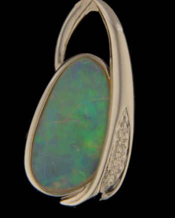 White Opal Slide with Diamonds in 14K White Gold-0
