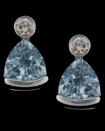 Trillion Cut Aquamarine (5x5) and Diamond (0.06ctw) Earrings in 14K White Gold-0