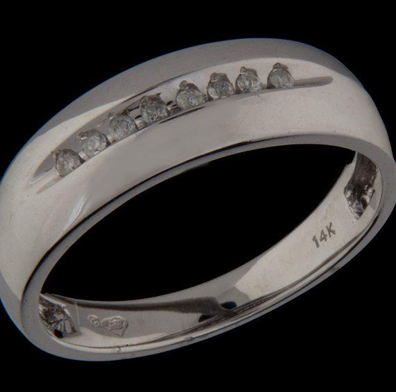 Gents Diamond (0.10ctw) Wedding Band in 14K White Gold-0