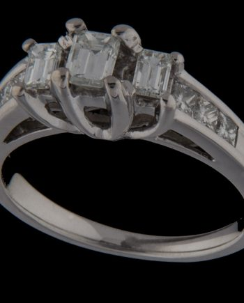 Diamond Engagement Ring Emerald Cut Past Present and Future Center with Princess Cut Sides-0