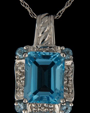 Diamond (0.20ctw) and Blue Topaz Emerald Cut Pendant in 14K White Gold-0