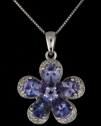 Diamond (0.10ctw) and Tanzanite (2.40ctw) Flower Pendant in 14K White Gold-0