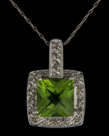 Peridot and Diamond Princess Cut Halo Pendant in 10K White Gold-0