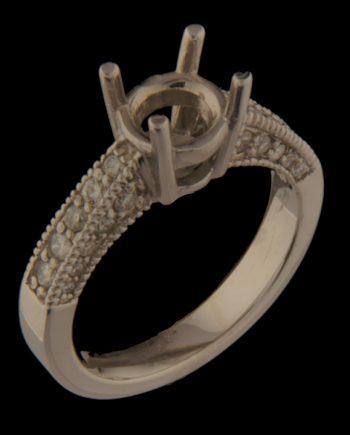 Diamond Engagement Semi-Mount Milgrain 0.52 TDW in 14K White Gold-0
