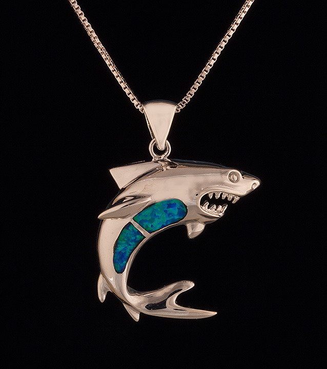 Sterling silver shark necklace with opal inlay brownes jewelers sterling silver shark necklace with opal inlay 0 aloadofball Gallery