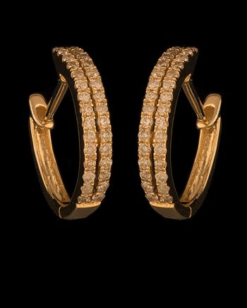 Diamond Earrings 0.24ctw Huggies Hoops 14K Yellow Gold -0