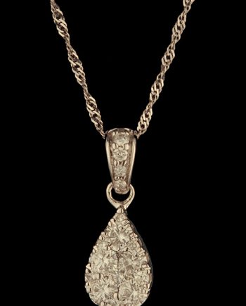 Diamond Drop Pendant 0.44ctw 14K White Gold-0