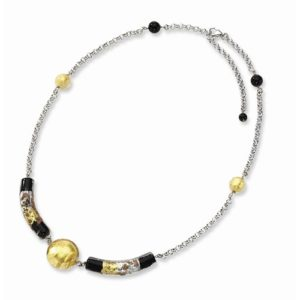 """16"""" Murano Glass Bead and Onyx Necklace in Sterling Silver"""