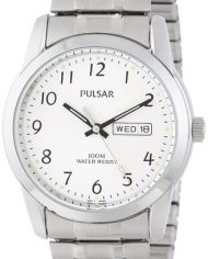 Pulsar Men's Stainless Steel Watch with Stretch Band and Day / Date Display -0