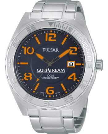 Pulsar Men's Stainless Steel Watch with Black Face and High Visibility Large Orange Numerals-0
