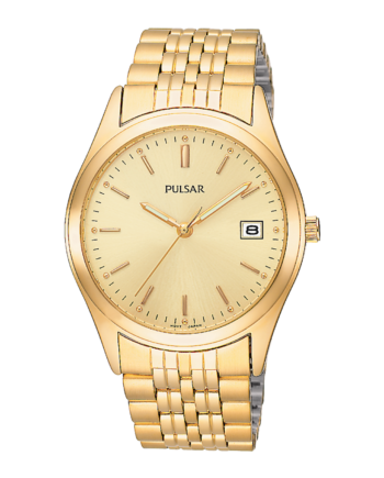 Pulsar Men's Gold Tone Watch with Date Display-0